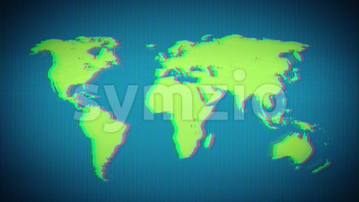 World Earth Map On Vintage Old Television Screen Stock Video
