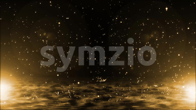4k Abstract Golden Particles Raining Background Stock Video