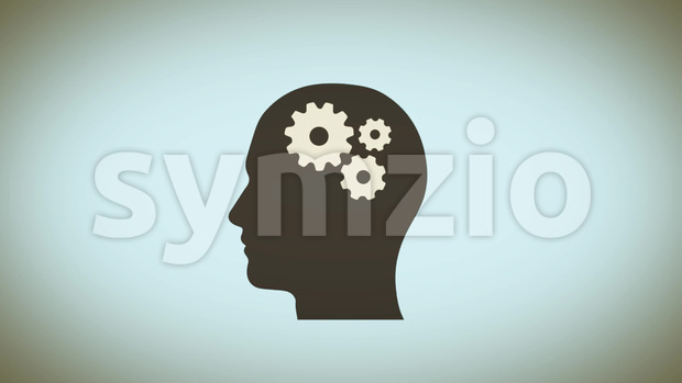 Animation of a head profile silhouette with brain gears spinning inside, symbolizing mind power at work, creativity and ideas