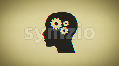 4k Brain Gears Inside Woman Head Silhouette Stock Video