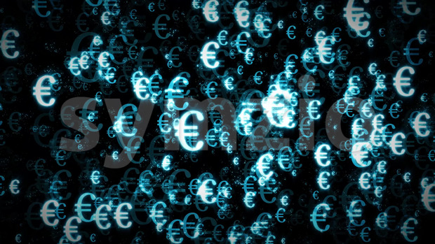 Animation of seamless background loop with blue shining euro symbol character