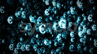 4k Euro Currency Light Particle Background Loop Stock Video
