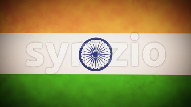 Animation of a vintage grunge textured india flag background, with twitch and glitch effects