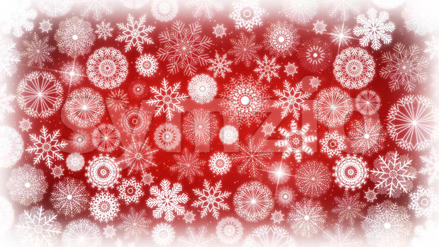 Animation of a seamless looping wallpaper background with white delicate winter snowflakes and lodestar spinning for christmas and new year's ...