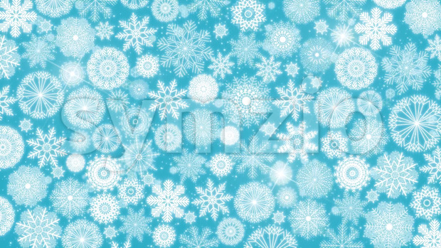 Animation of a seamless looping blue wallpaper background with winter snowflakes and lodestar spinning for christmas and new year holidays