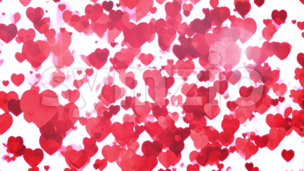 4k animation of a valentine's day holiday background with beautiful red heart floating and rising, with seamless loop