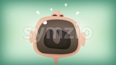 Cartoon Baby's Mouth Screaming And Yelling Loopable Stock Video