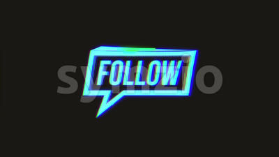 Social Network Speech Bubble Sign With Glitch Effects Stock Video