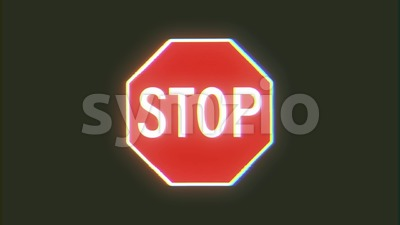 4k Stop Sign Glitch Video Background Stock Video