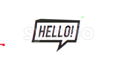 Hello Speech Bubble Sign With Glitch Effects Stock Video