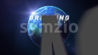 Breaking News Intro TV Broadcast On Earth Background Stock Video