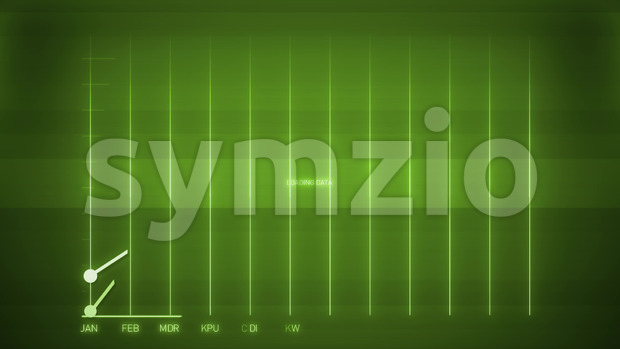 Animation of a business infographics with rising arrow and bar stats appearing, symbolizing growth and success, with glitch and noise ...
