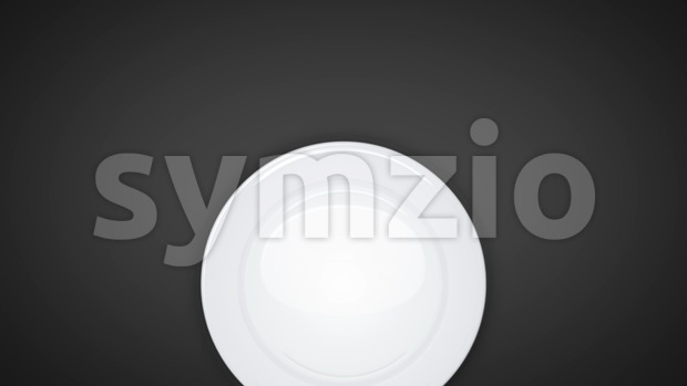 Animation of a restaurant background tablecloth with an empty white plate, knife and fork dishes, appearing smoothly with ease in ...