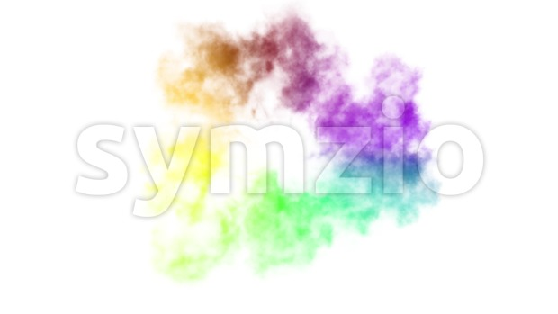 4k animation of a colorful rainbow shockwave smoke explosion isolated on white background