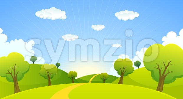 Spring Or Summer Cartoon Landscape Stock Vector