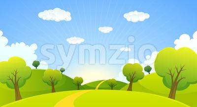 Spring Or Summer Cartoon Landscape Stock Vector
