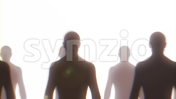 4k animation of looped background with black silhouettes of men standing and sliding from left to right