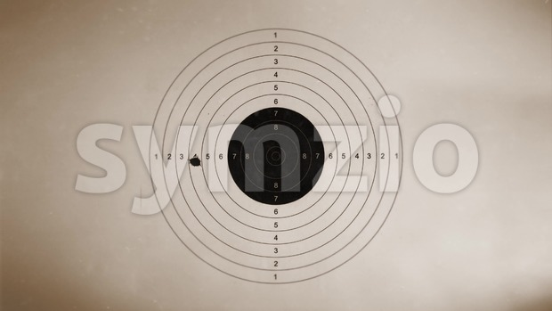 4k animation of a vintage old background, with shooting target and gunshot impact and holes