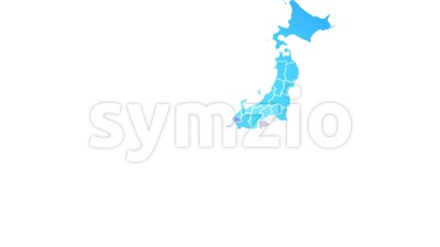 Japan Map Showing Up Intro By Regions Stock Video