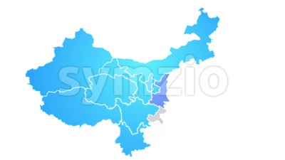 China Map Showing Up Intro By Regions Stock Video