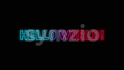 Hello World Message With Glow Effect Stock Video