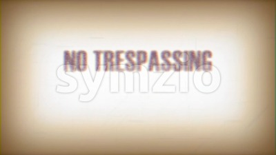 No Trespassing Keep Out Sign Glitch Video Stock Video