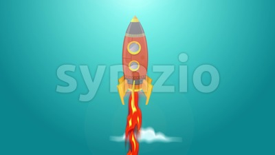 Rocket Ship Flying Through Space Animation Loop Stock Video