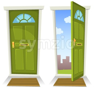 Cartoon Green Door, Open And Closed Stock Vector