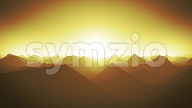 4k animation of an abstract fractal mountains landscape with low polygons silhouettes, and beautiful sunshine in the horizon, seamless looping