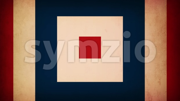 Animation loop of a retro background, with hypnotic elegant blue, red and white colorful square shapes
