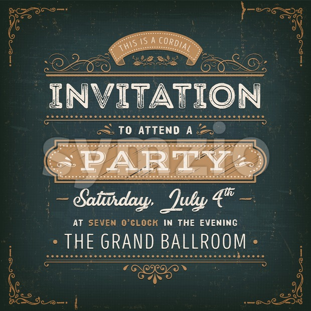 Vintage Party Invitation Card On Chalkboard Stock Vector