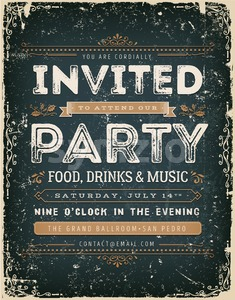 Vintage Invitation Sign On Chalkboard Stock Vector