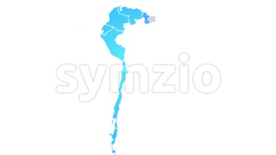 South America Map Showing Up Intro By States Stock Video
