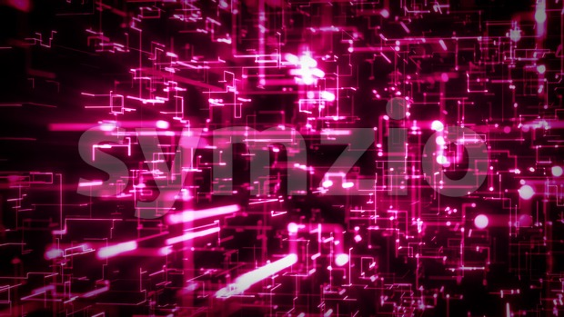 4k animation of an abstract technology background with lines and dots infographics, data fading and zooming in seamless loop
