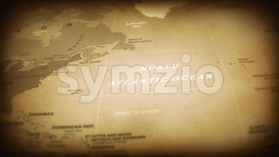 Vintage World Map Flight Over Background Stock Video
