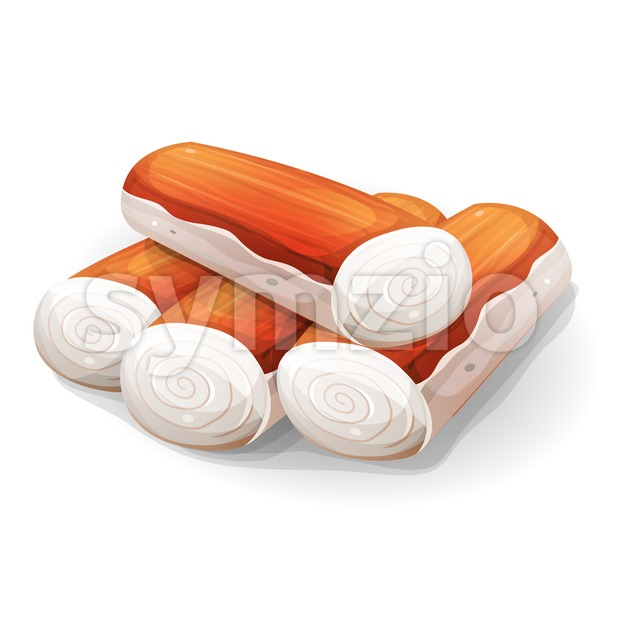 Pack Of Surimi Or Crab Stick Stock Vector