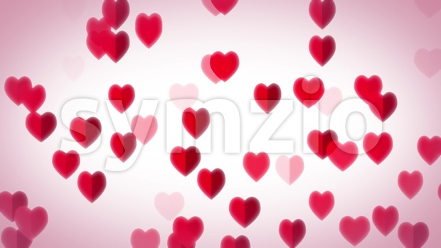 4k animation of an elegant design abstract background with heart shapes and patterns rising, flying and fading