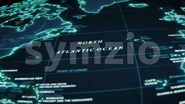 4k animation of a world map travel background flight over by night with ocean, countries and cities names