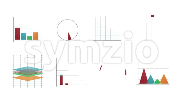 4k animation of a set of design business and market data analysis and reports, with infographics, bar stats, charts and ...