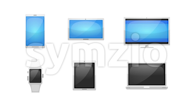 4k animation of a pack of multiple devices technology icons and symbols, including smartphones, table pc, laptop, watch and screen ...