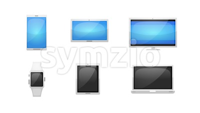 Multiple Devices Technology Icons Set Stock Video