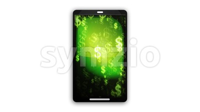 Smartphone Device With Dollars Background Stock Video