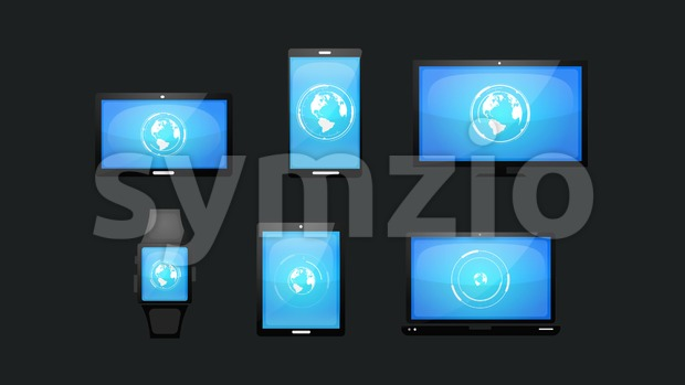 4k animation of a pack of multiple devices technology icons and symbols with earth HUD infographics, on smartphones, table pc, ...