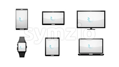 Multiple Devices Loading Technology Icons Set Stock Video
