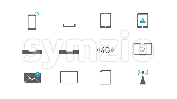 4k animation of a pack of internet tehcnology icons and symbols, for business