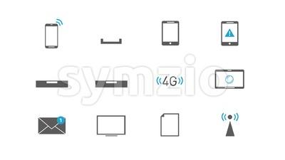 Internet Wireless Technology Icons Set Stock Video