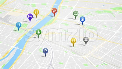 Smartphone App Map With GPS Pins Animation Loop Stock Video