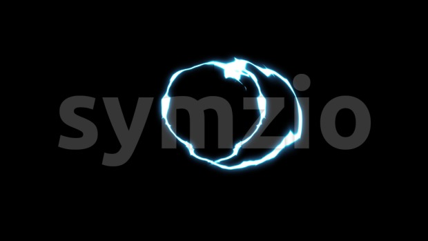 4k loopable animation of an abstract action dynamic distorted electric ring with rays twitching on black background