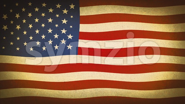 4k animation of an old vintage grunge textured american flag background, with twitch and glitch effects for fourth of july ...