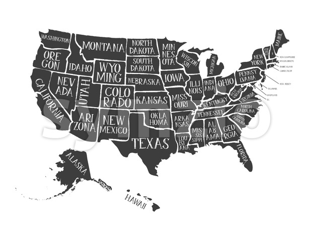 Illustration of a vintage grunge textured american map background, with names of the fifty states